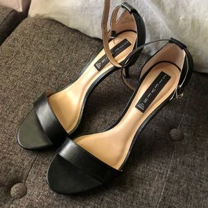 Steve Madden Black Viienna Leather Heels, Size 8.5